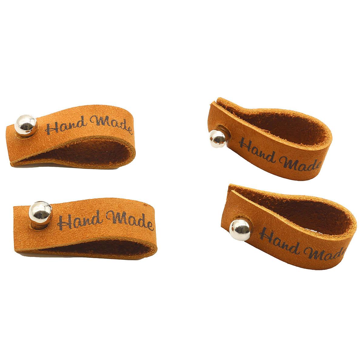 Набор кожаных бирок с кнопкой 'Hand Made' 1,3*7см, цв. коричн., уп.8шт