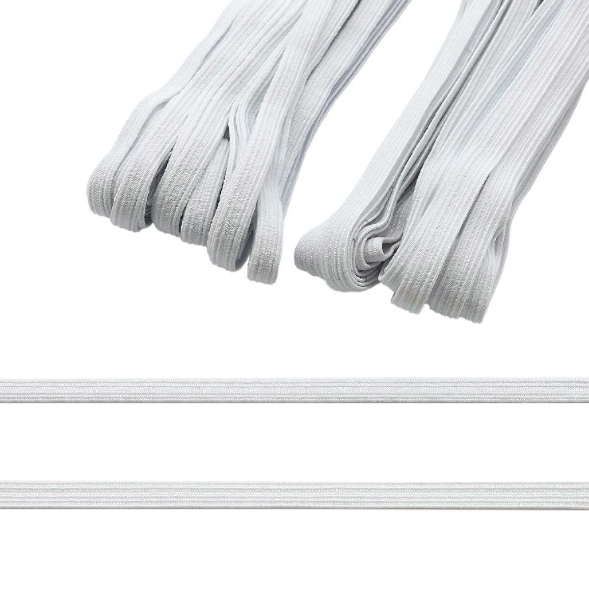 Резинка-продежка (тесьма эластичная) 08 мм (2 мот по 10м), цв. белый/белый