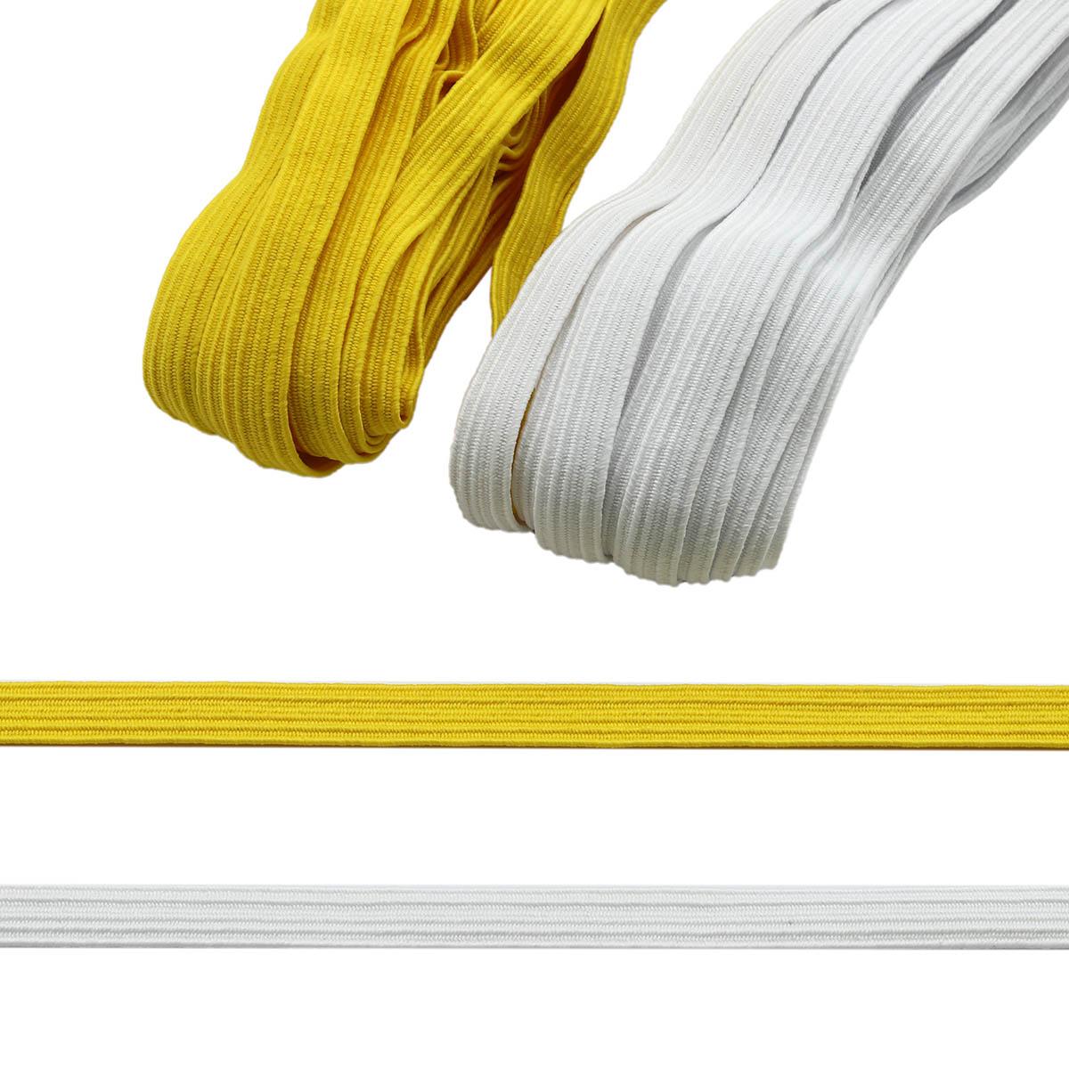 Резинка-продежка (тесьма эластичная) 10 мм (2 мот по 10м), цв. белый, желтый