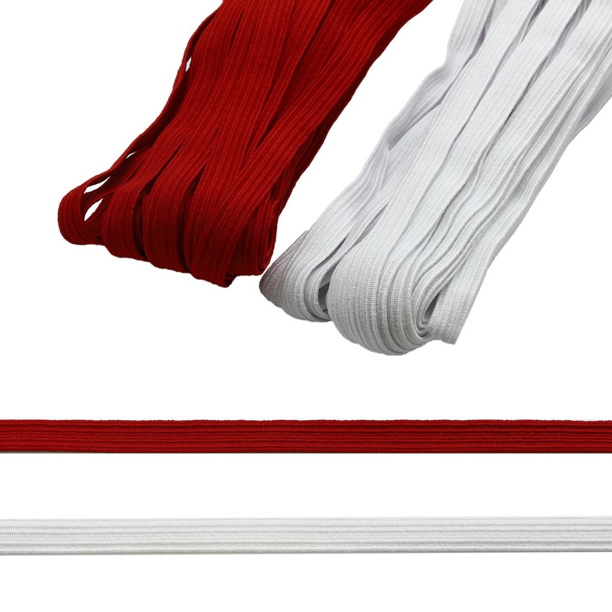 Резинка-продежка (тесьма эластичная) 10 мм (2 мот по 10м), цв. белый, красный