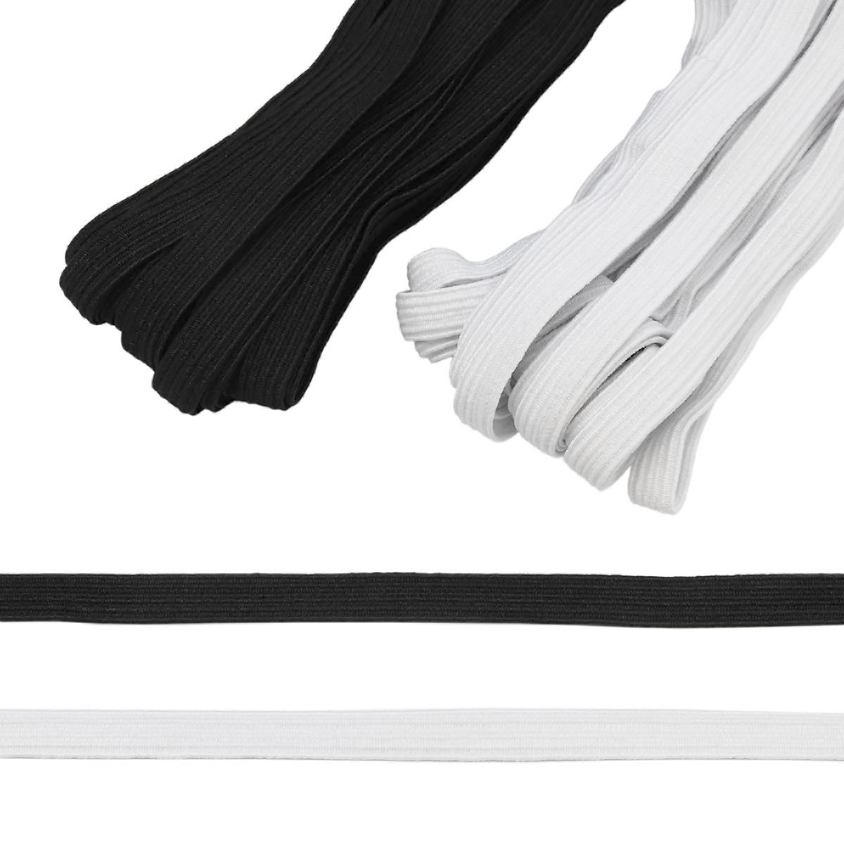 Резинка-продежка (тесьма эластичная) 10 мм (2 мот по 10м), цв. белый, черный