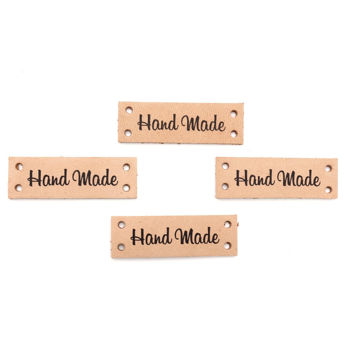 Набор кожаных бирок пришивных 'Hand Made' 1,4*4см, цв. бежевый, уп.8шт