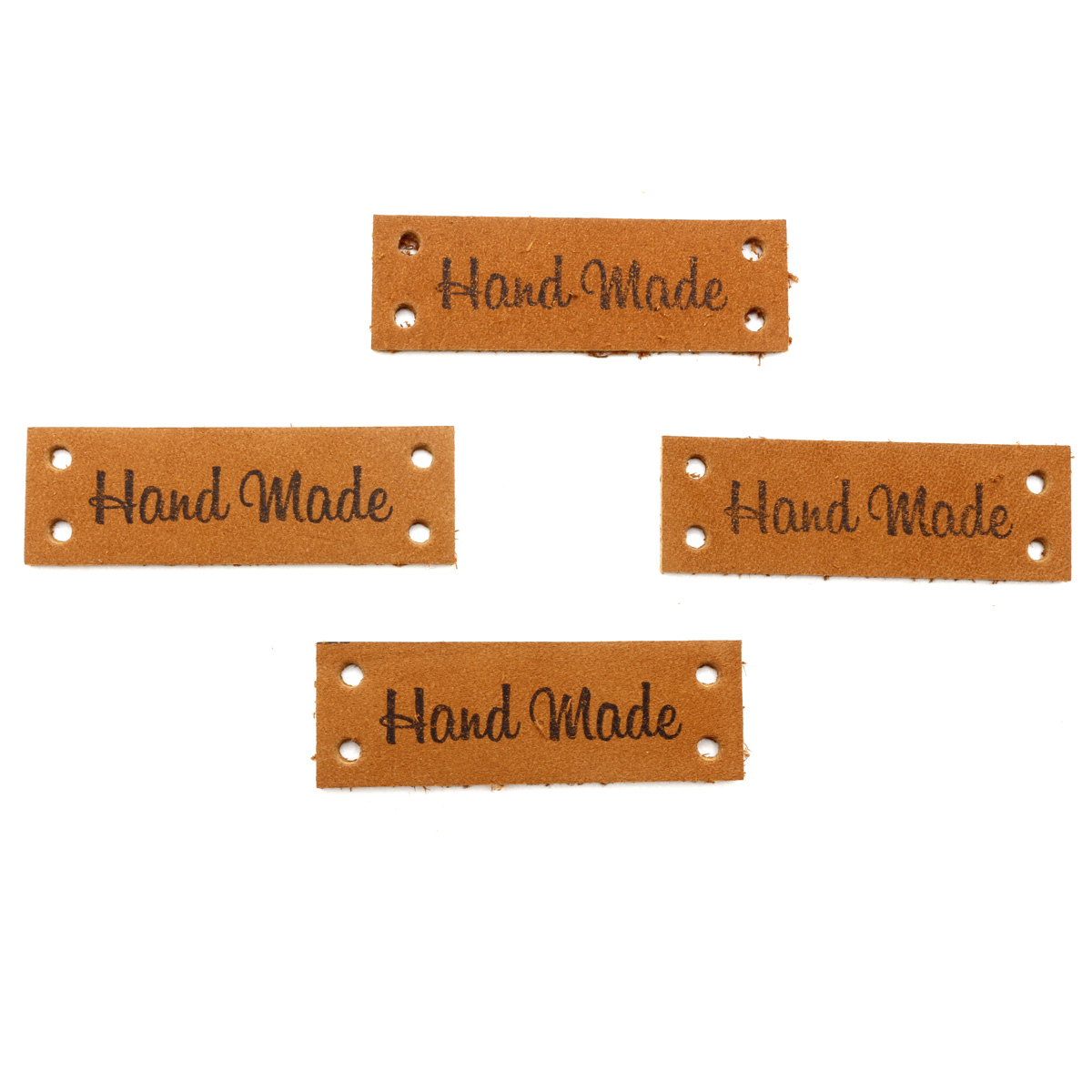 Набор кожаных бирок пришивных 'Hand Made' 1,4*4см, цв. коричн., уп.8шт