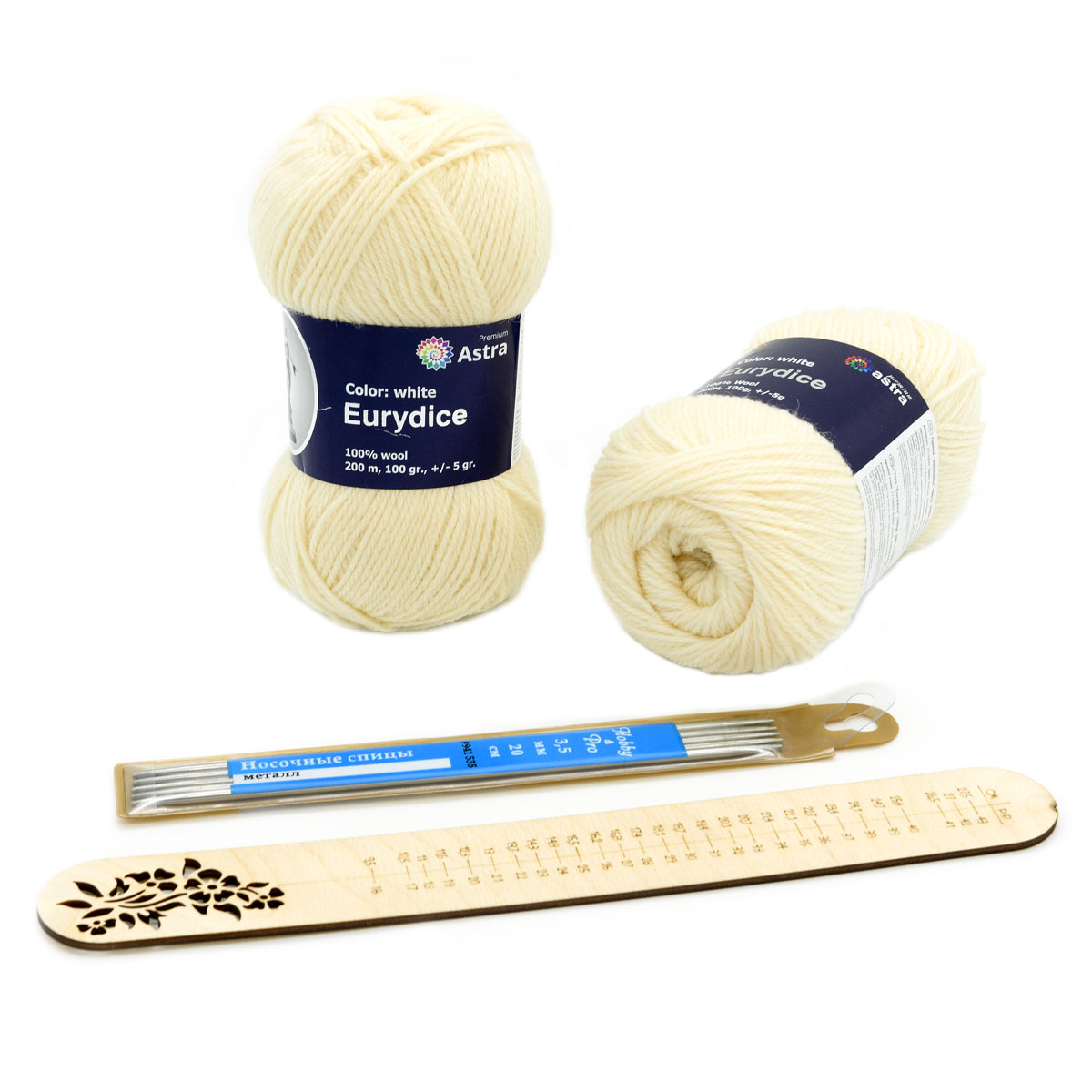 Набор для вязания носков с линейкой для определения размера, 02 белый