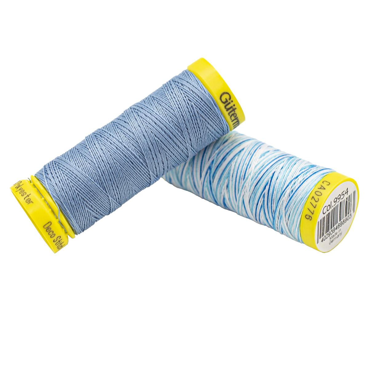 Набор шв. нитей (702160 Deco Stitch 70, однотон 70м, 702161 Deco Stitch 70 мультиколор 70м) Гутерман, 143 серо-голубой, 9954 мультиколор