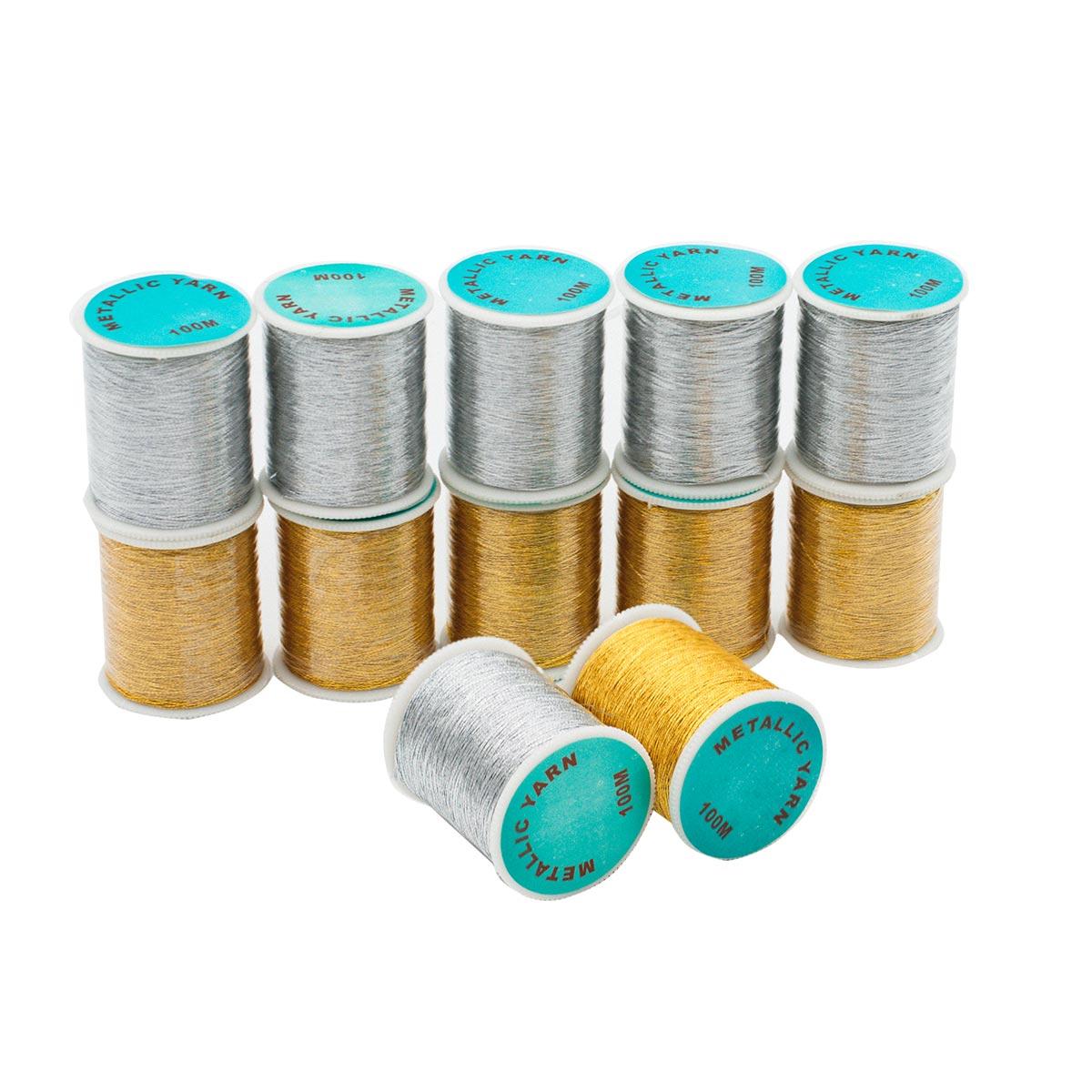 Нитки люрекс 0212-3303, 100м, упак/12 шт, золото/серебро