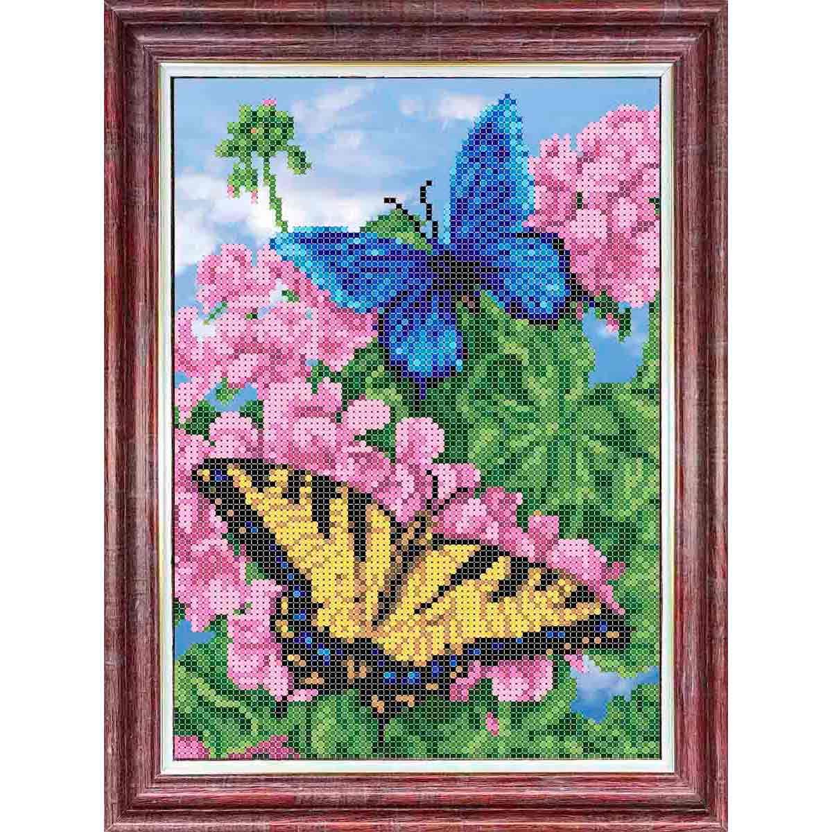 КББ-4008 Канва с рисунком для бисера 'Бабочки в цветах' А4