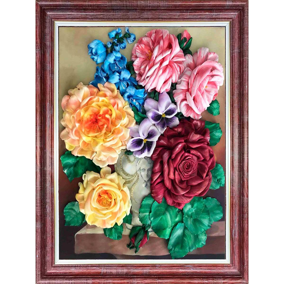 КЛ(н)-3028 Набор для вышивания лентами 'Букет в вазе'27,3 *34,4 см