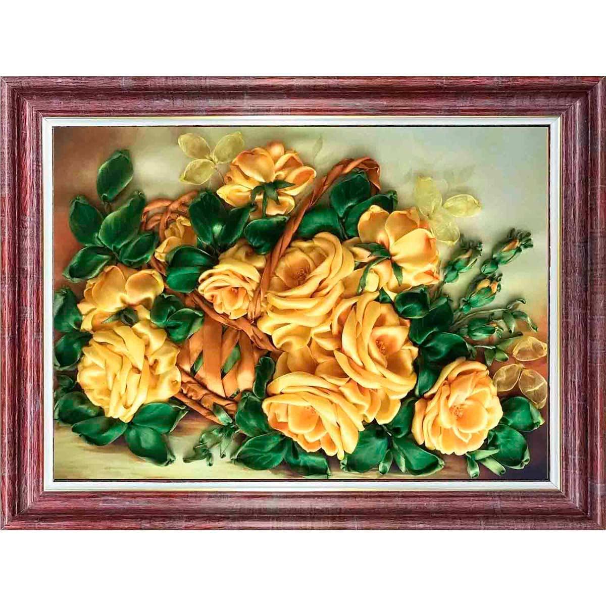 КЛ(н)-3030 Набор для вышивания лентами 'Желтые розы'25,0*32,5 см