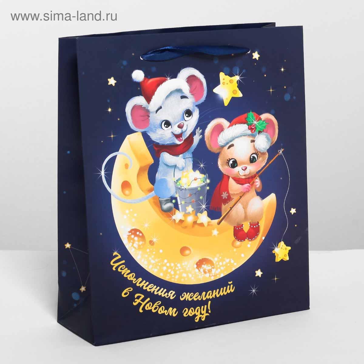 4262219 Пакет ламинированный вертикальный «Мышки на луне», ML 23 * 27*8 см