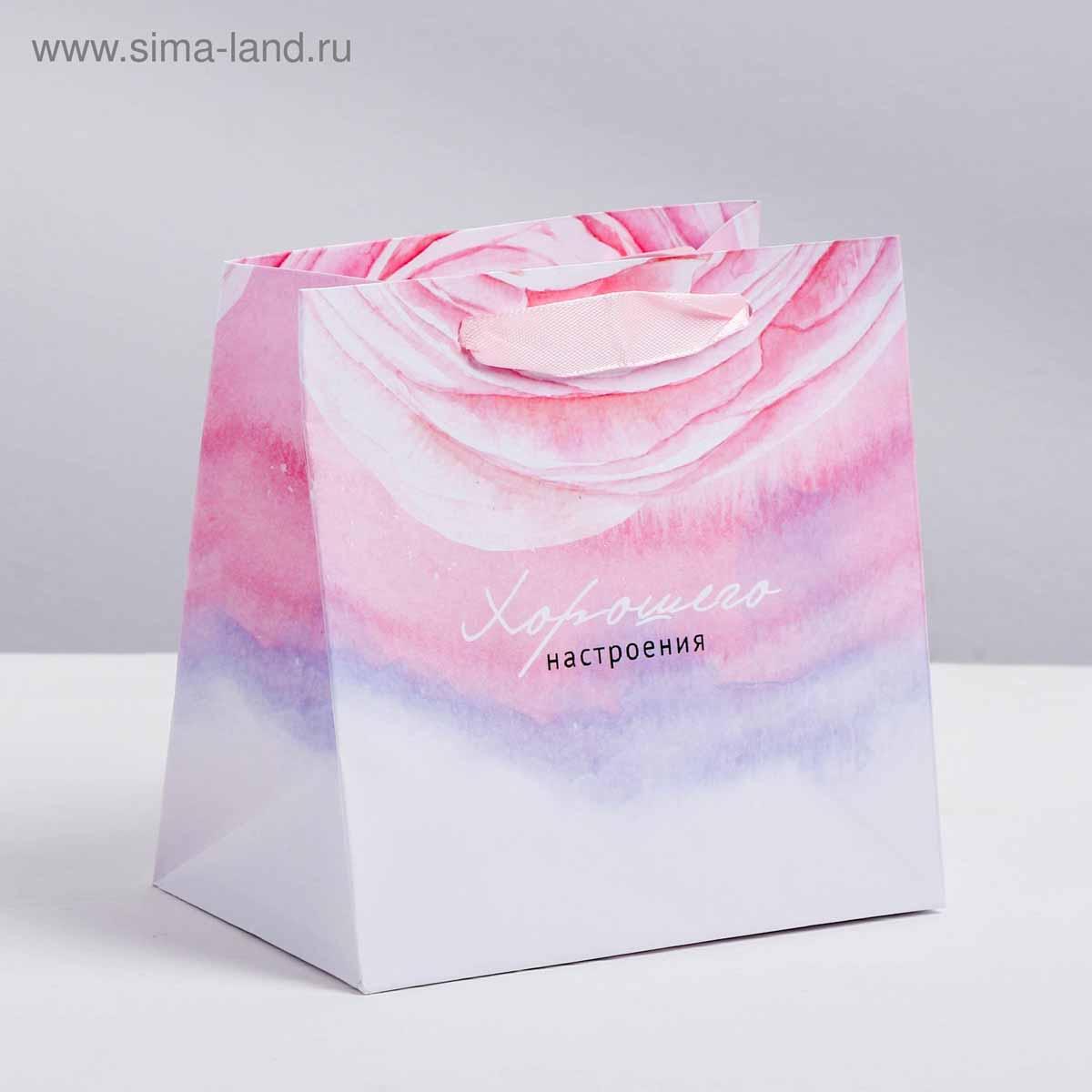 3680978 Пакет ламинированный квадратный «Цветочная нежность», 22*22*11 см