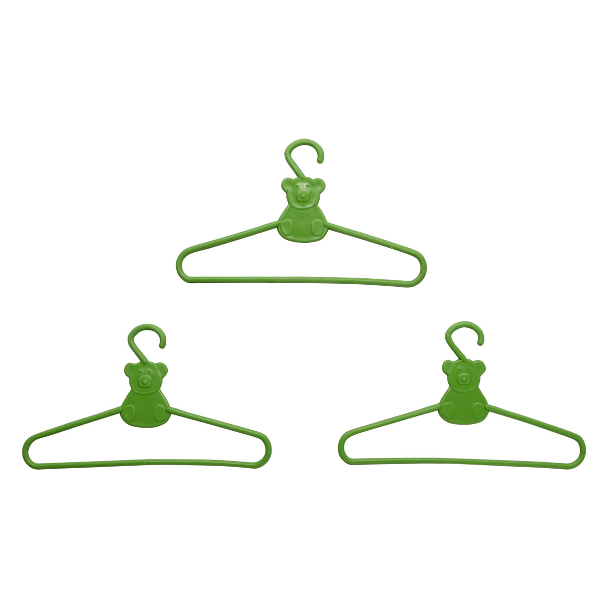 28519 Вешалка (плечики) для кукольной одежды 9 см, пластик, уп/3шт, зеленый
