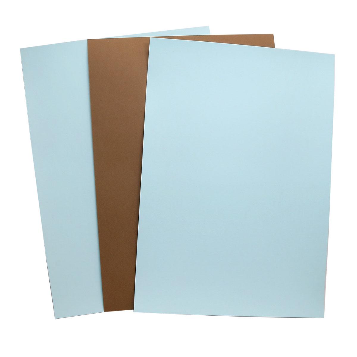 БД0004 Бумага двухсторонняя А4 КОМПЛЕКТ 3шт. Коричневый/Голубой