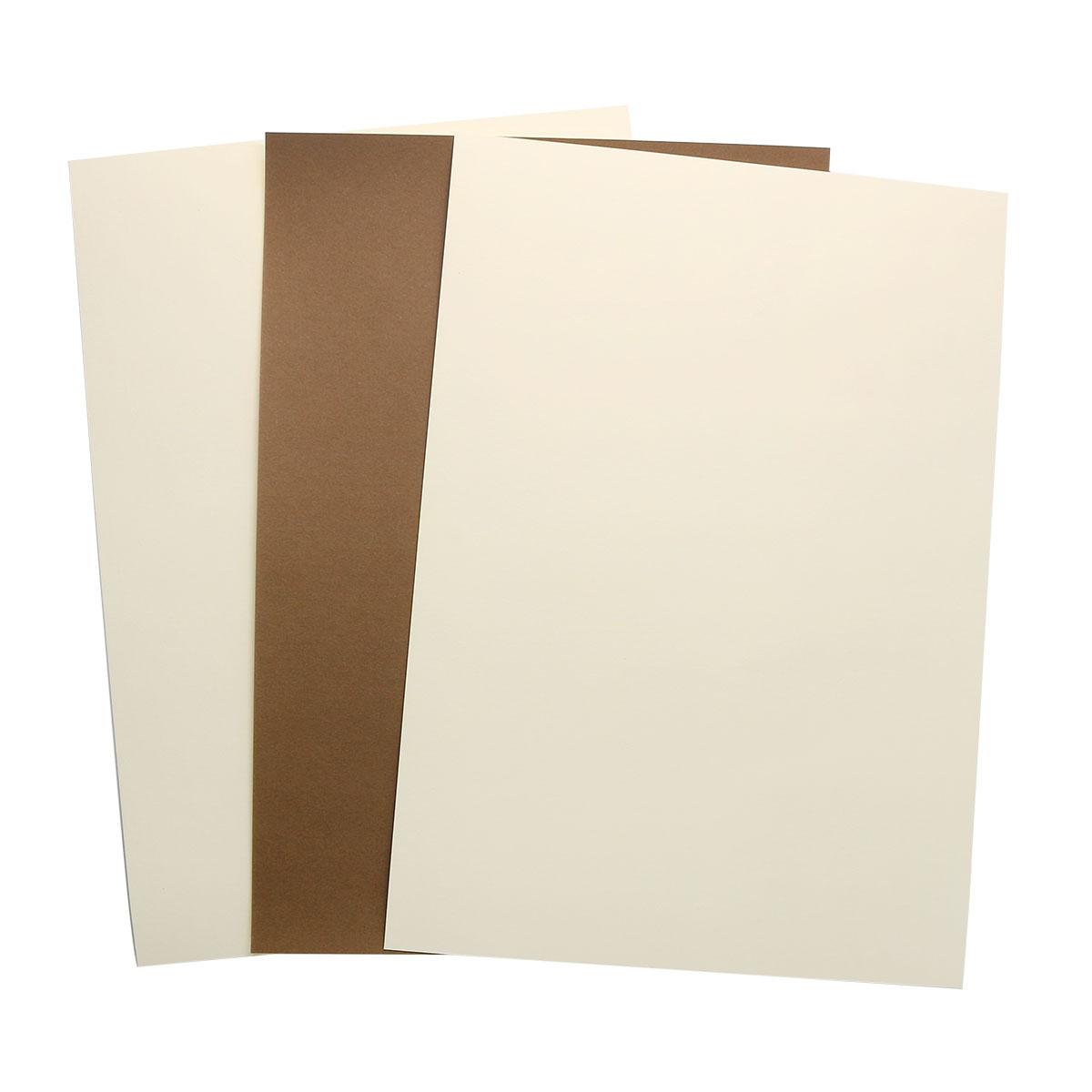БД0007 Бумага двухсторонняя А4 КОМПЛЕКТ 3шт. Коричневый/Кремовый