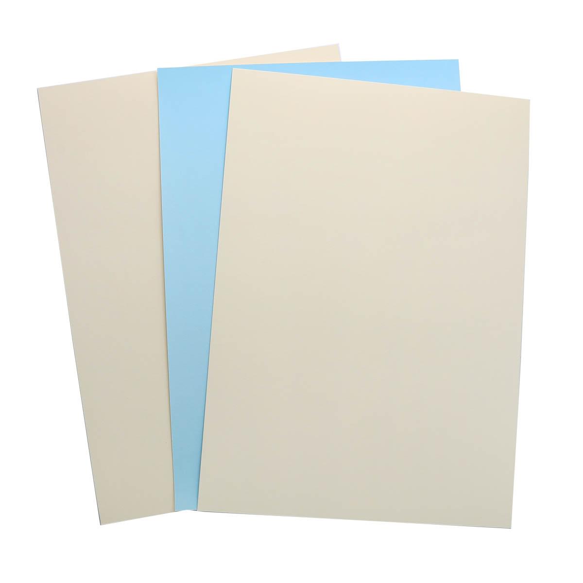 БД0008 Бумага двухсторонняя А4 КОМПЛЕКТ 3шт. Голубой/Кремовый