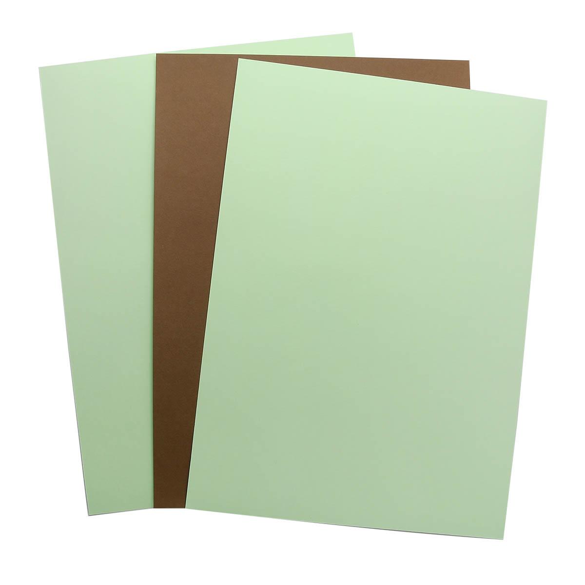 БД0011 Бумага двухсторонняя А4 КОМПЛЕКТ 3шт. Коричневый/ Св.Зеленый