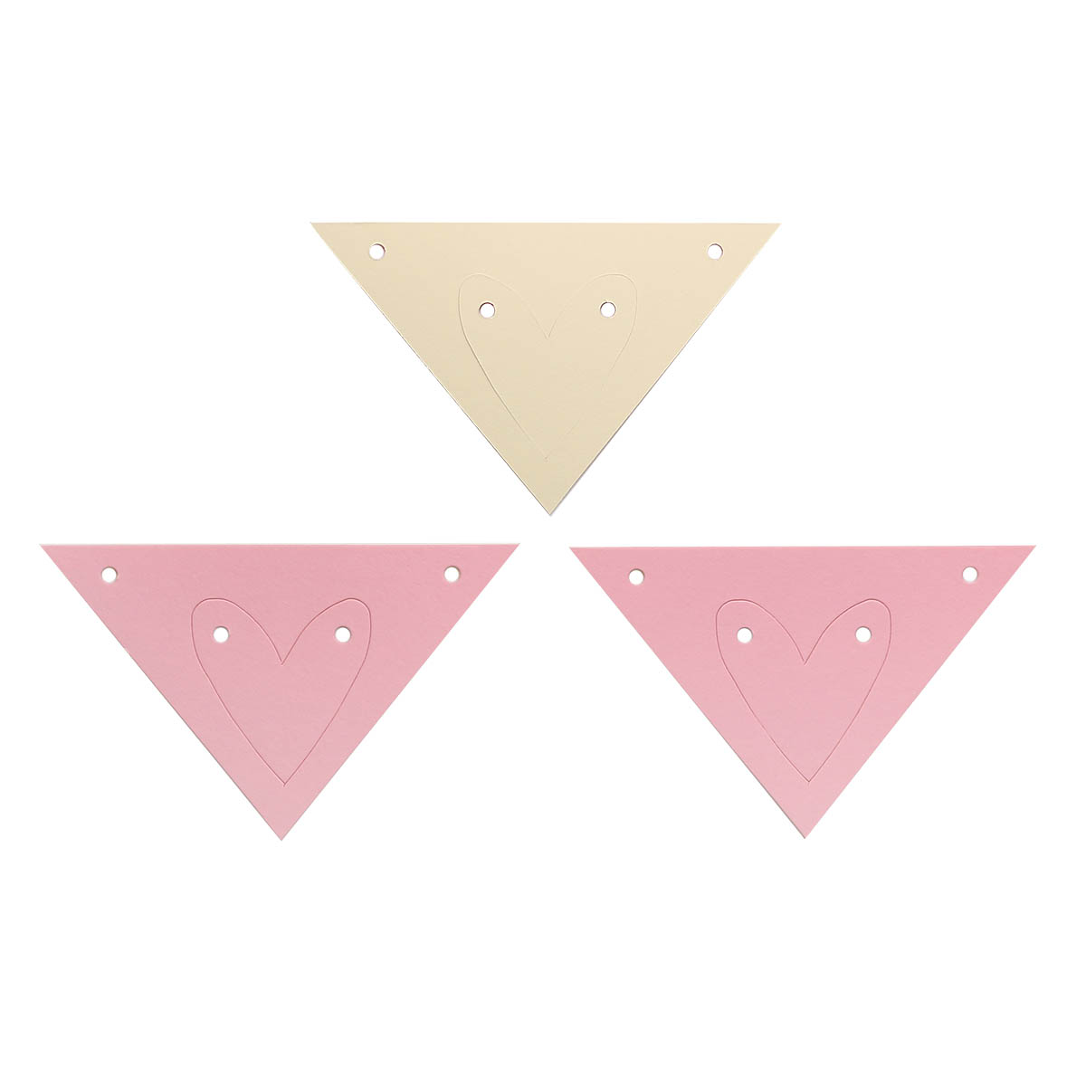 ГИР4003 Заготовка для гирлянды Треугольник Сердце Розовый/Кремовый