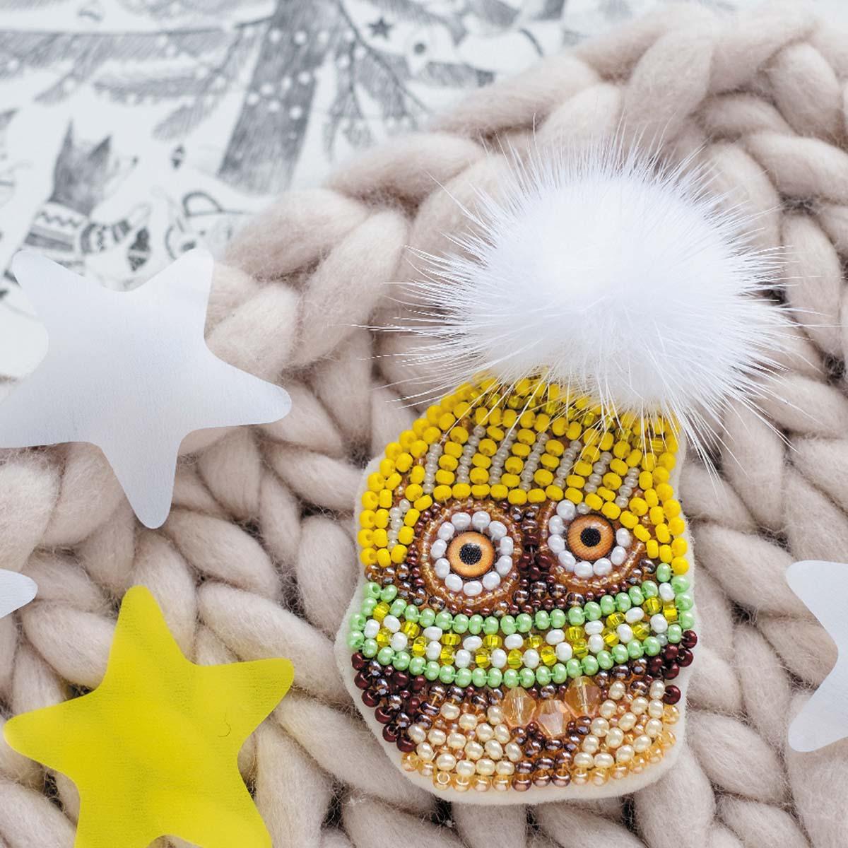 АД-061 Набор для вышивки бисером украшения на натур. художественном холсте 'Совенок Кузя' 4,4*5,7см