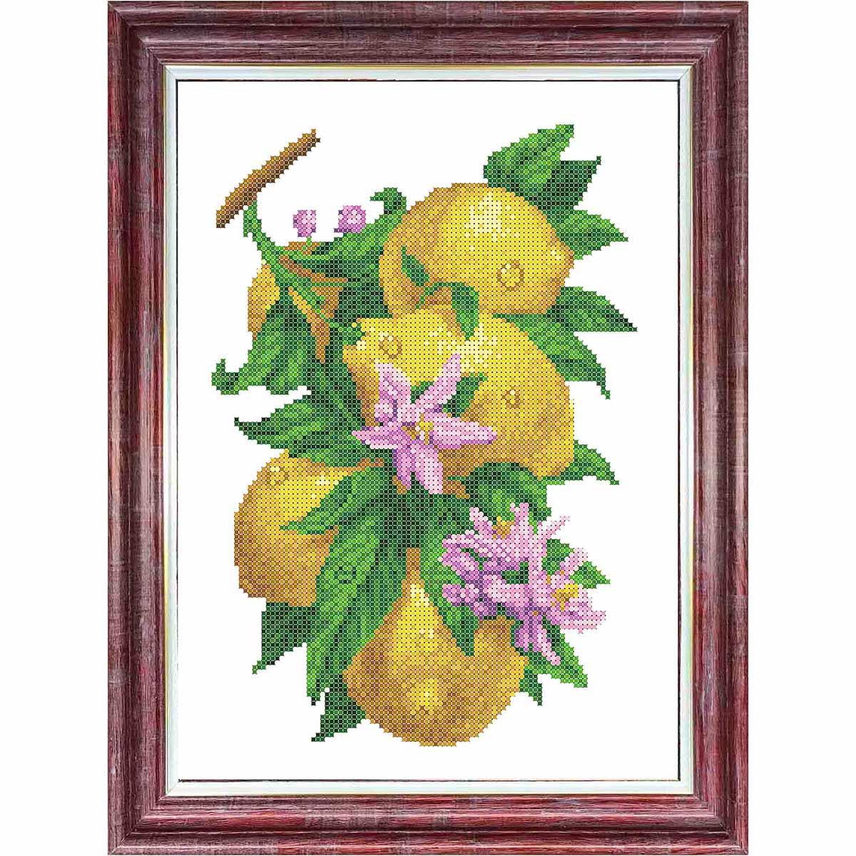 КБЦ-3058 Канва с рисунком для бисера 'Ветка с лимонами' А3