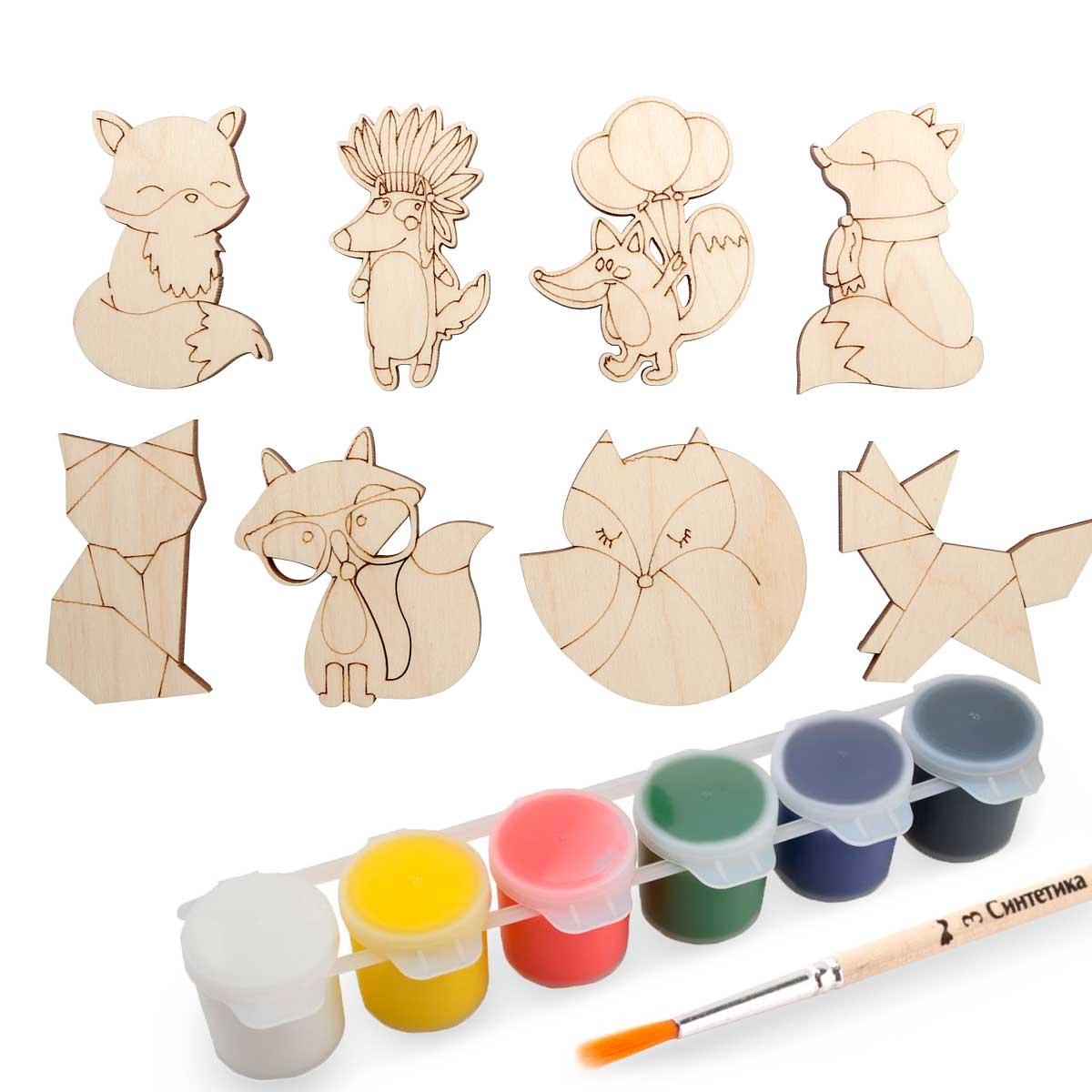 Набор для раскрашивания деревянных заготовок 'Лисички'