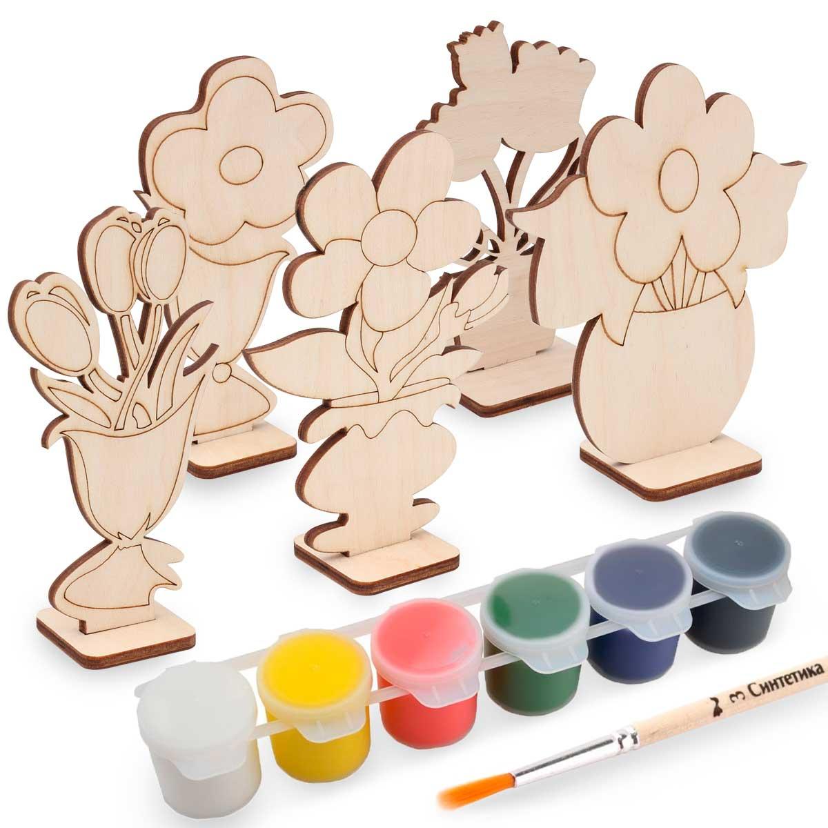 Набор для раскрашивания деревянных заготовок 'Цветы'