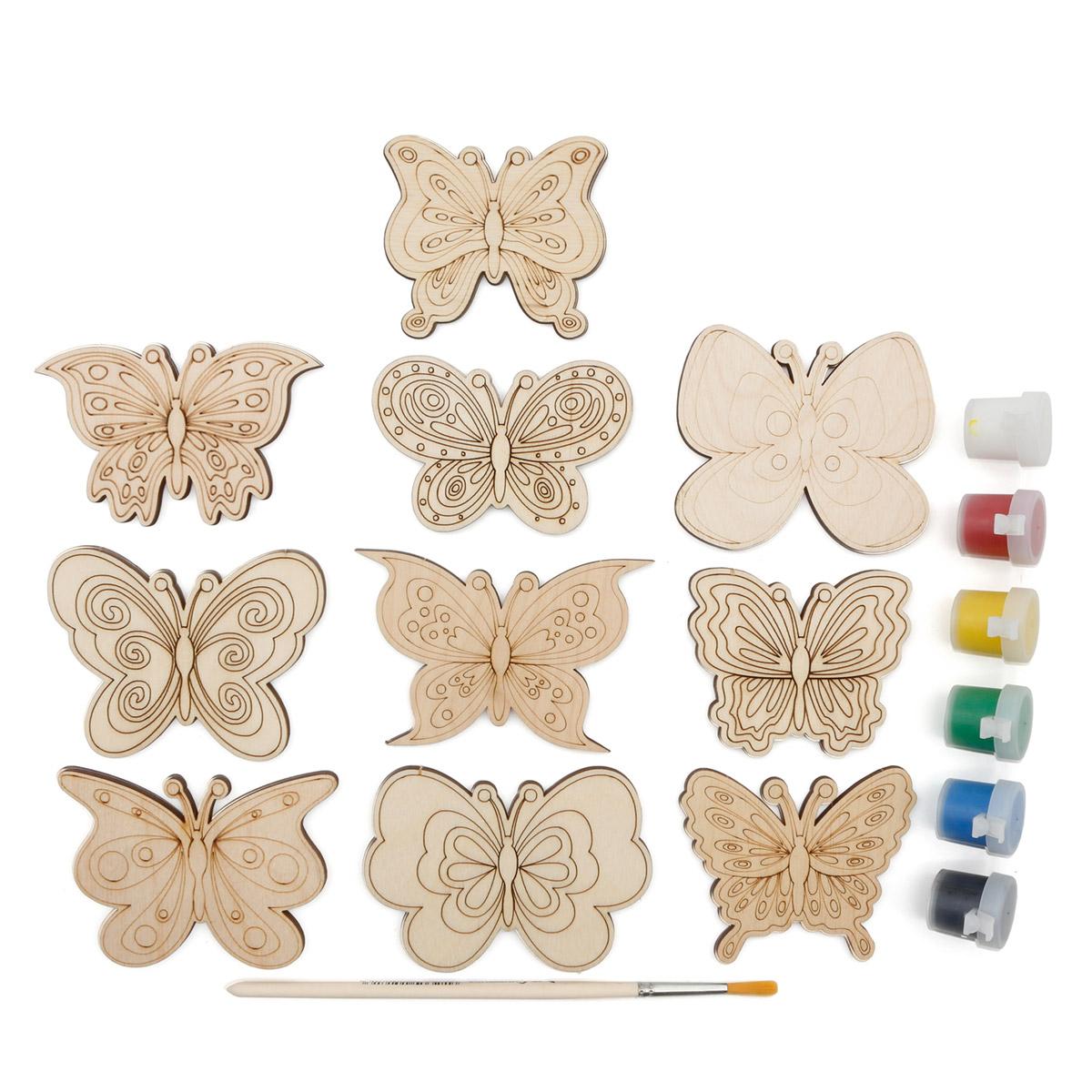 Набор для раскрашивания деревянных заготовок 'Бабочки'