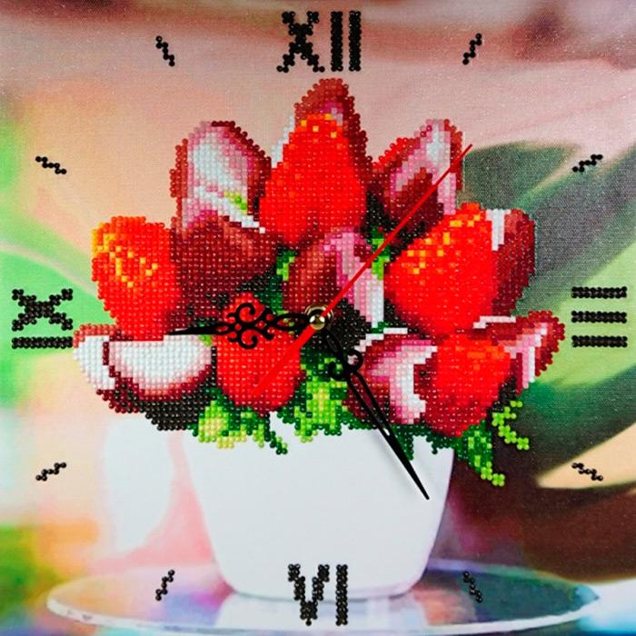 7303016 Алмазные часы Color KIT 'Клубника в шоколаде' 30*30см