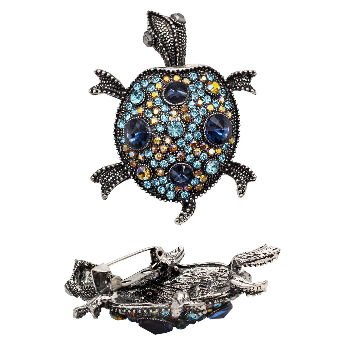 ГУБ7777 Брошь Черепаха 45*58мм, черненое серебро/темно-синий+бирюза+бежевый