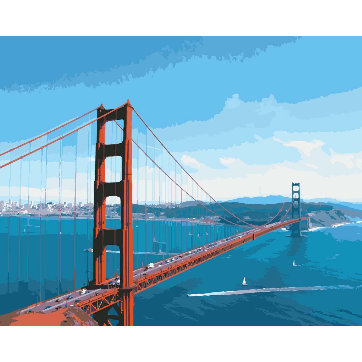 HS0033 Набор для рисования по номерам 'Мост 'Золотые ворота'40*50см