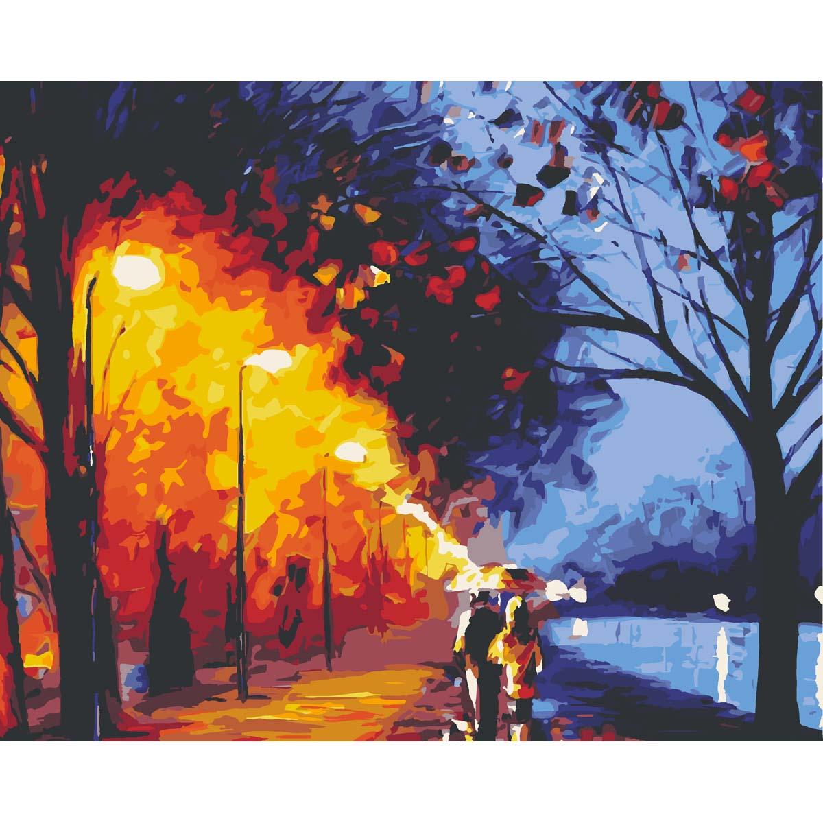 HS0200 Набор для рисования по номерам 'Прогулка в ночном парке' 40*50см