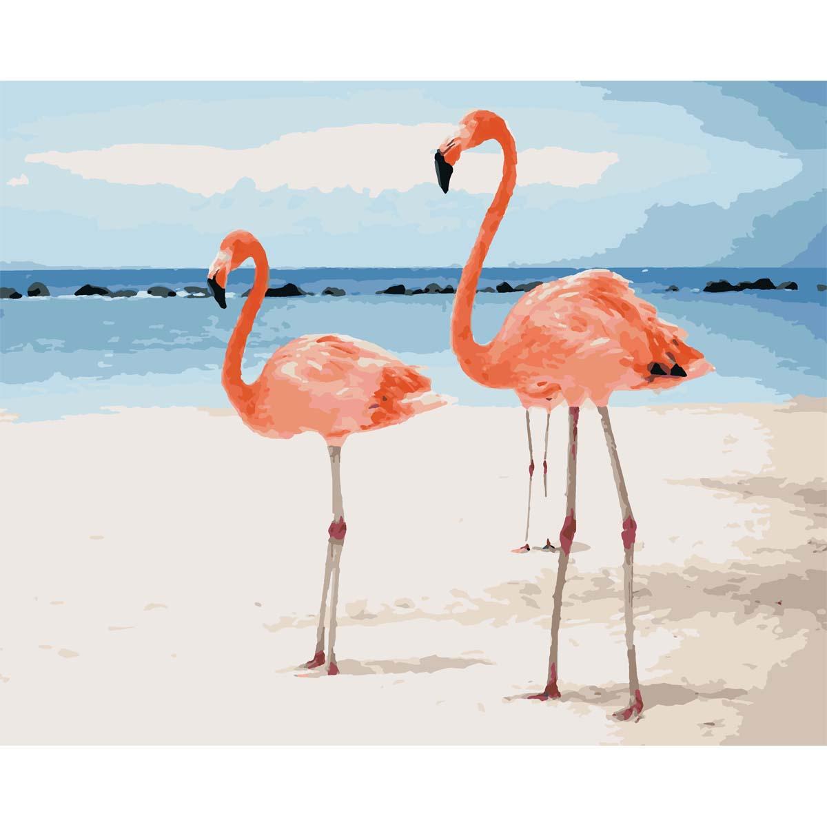 HS0220 Набор для рисования по номерам 'Парочка фламинго на берегу' 40*50см