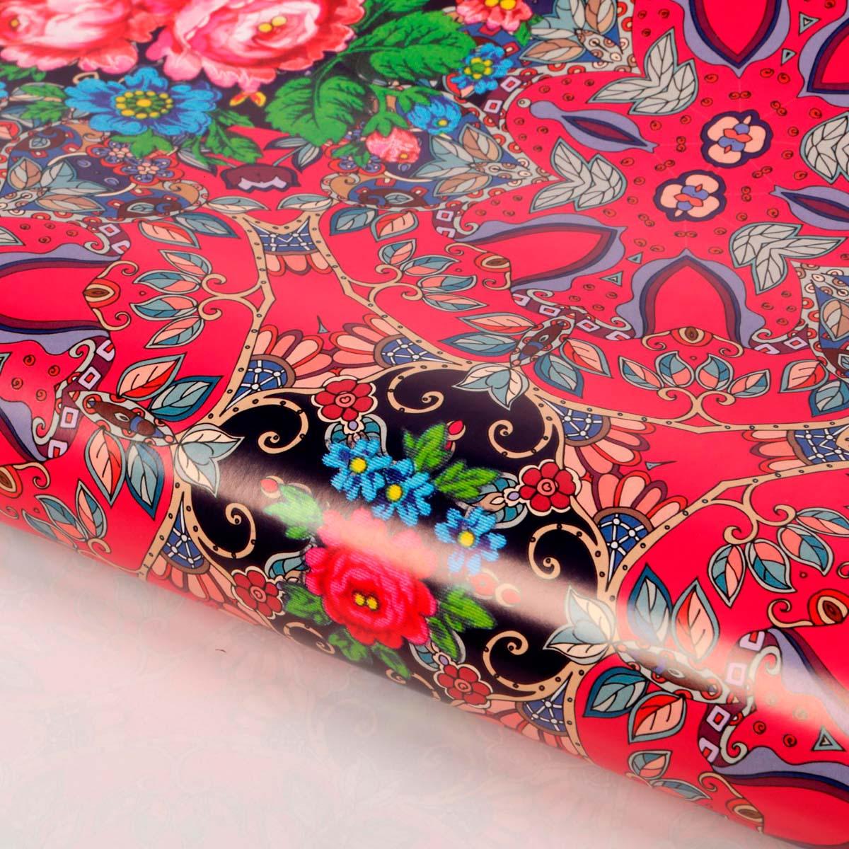 1889675 Бумага упаковочная глянцевая 'Русский платок', 70*100 см