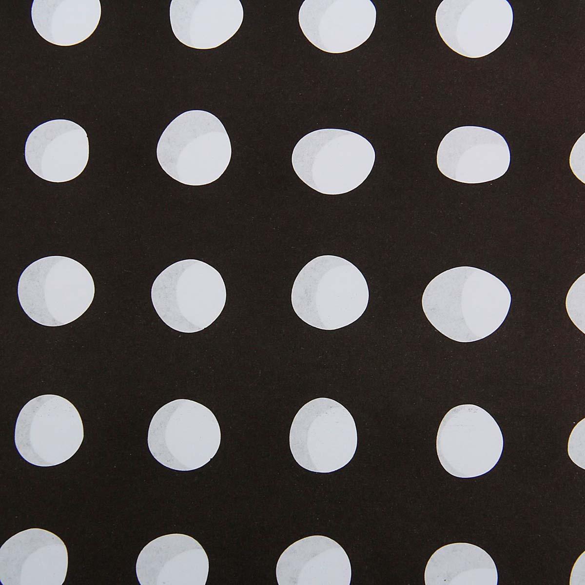 1558535 Бумага упаковочная 60*60 см 'Горохи белые на черном'