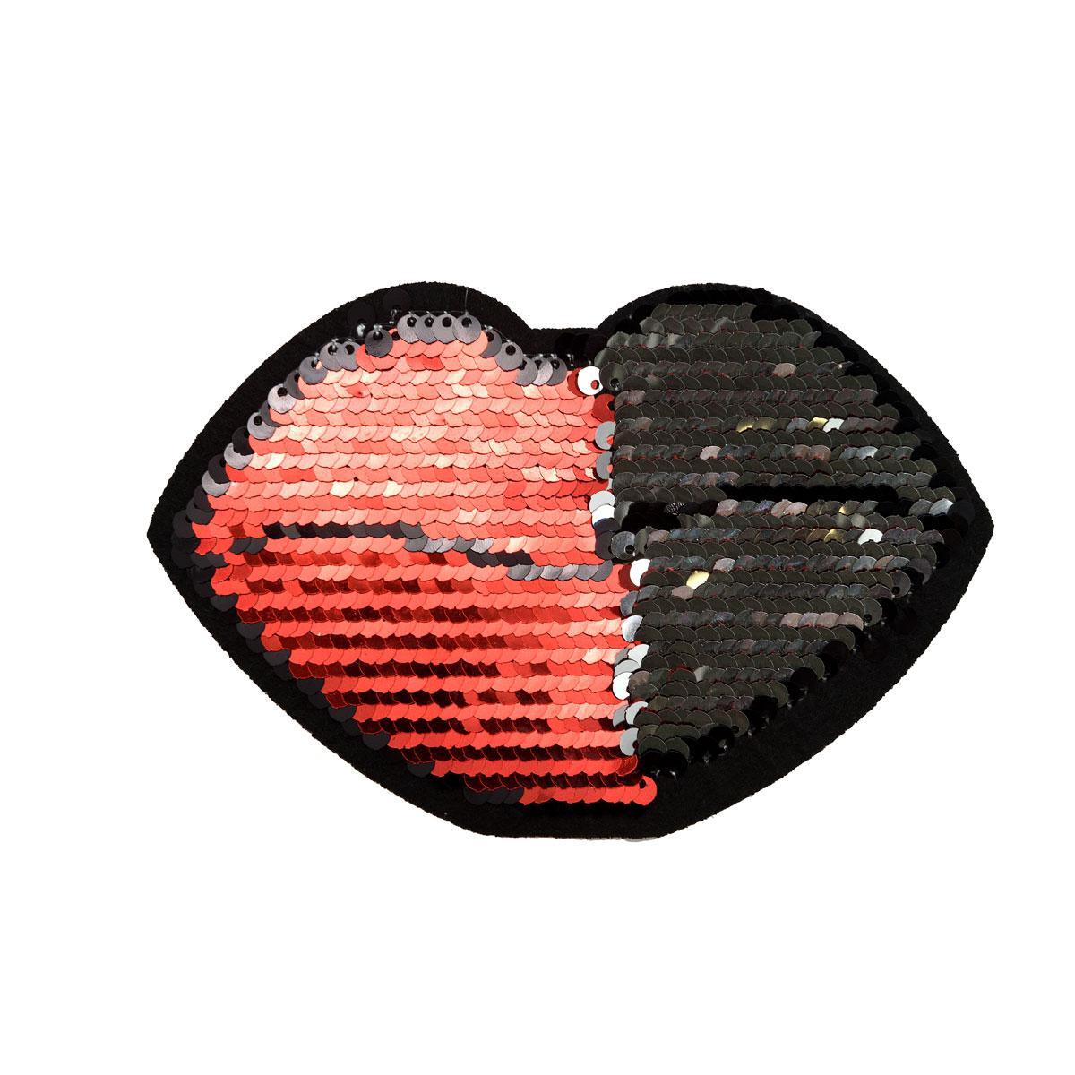 ГФ2466 Термоаппликация Губы 90*140мм, черный+красный