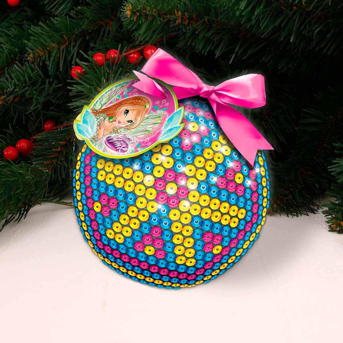 3531285 Новогодний шар 'Прекрасная фея' феи ВИНКС:Флора с пайетками,крепления,лента,мини-открытка