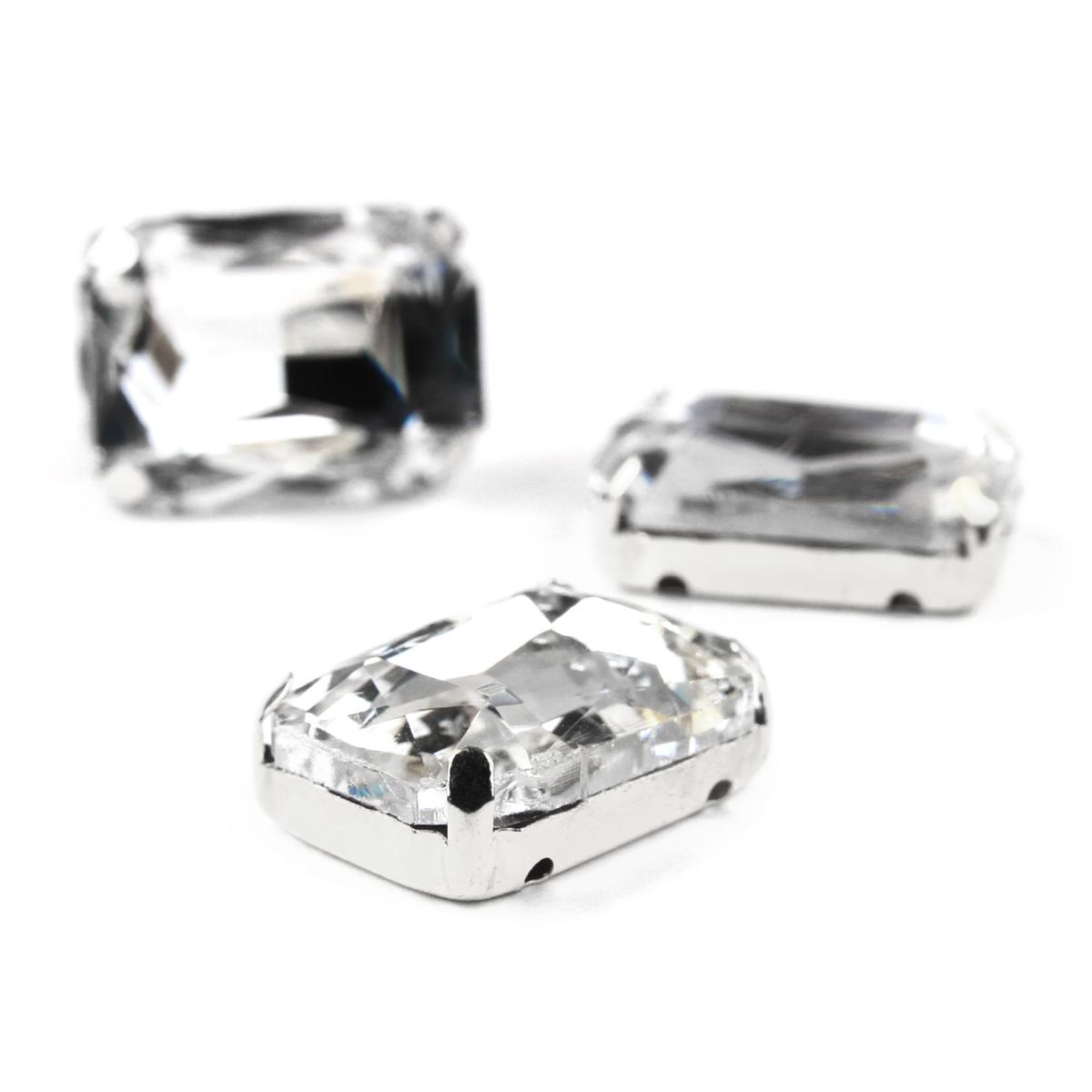 ПЦ001НН1318 Хрустальные стразы в цапах прямоугольные (серебро) белый 13*18мм, 3шт/упак Астра