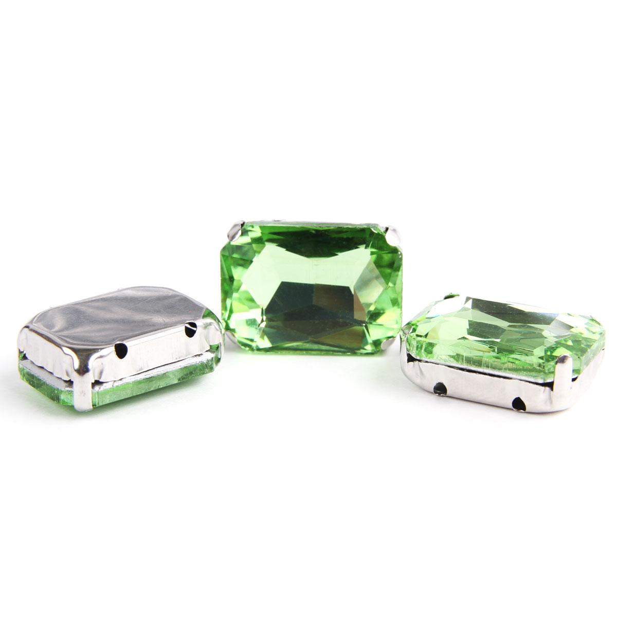 ПЦ006НН1318 Хрустальные стразы в цапах прямоугольные (серебро) светло-зеленый 13*18мм, 3шт/упак Астра