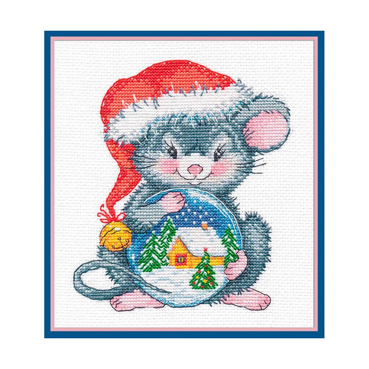 1254 Набор для вышивания ОВЕН 'Мышонок с шаром'14×15см