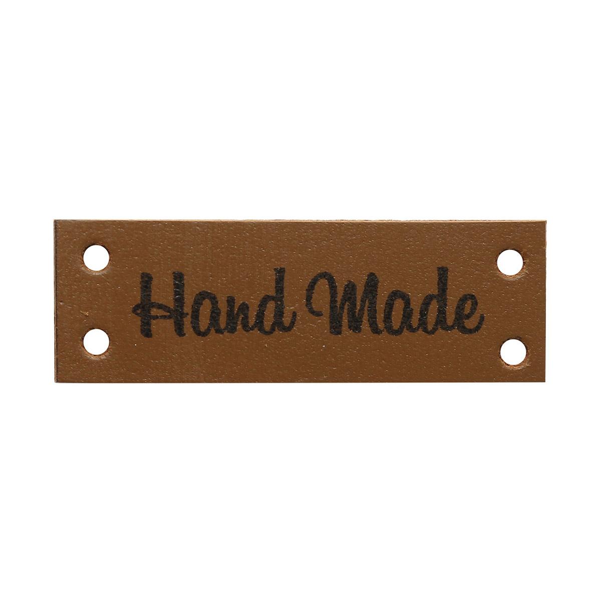 Кожаная бирка пришивная 'Hand Made' 1,4*4см, уп.4шт