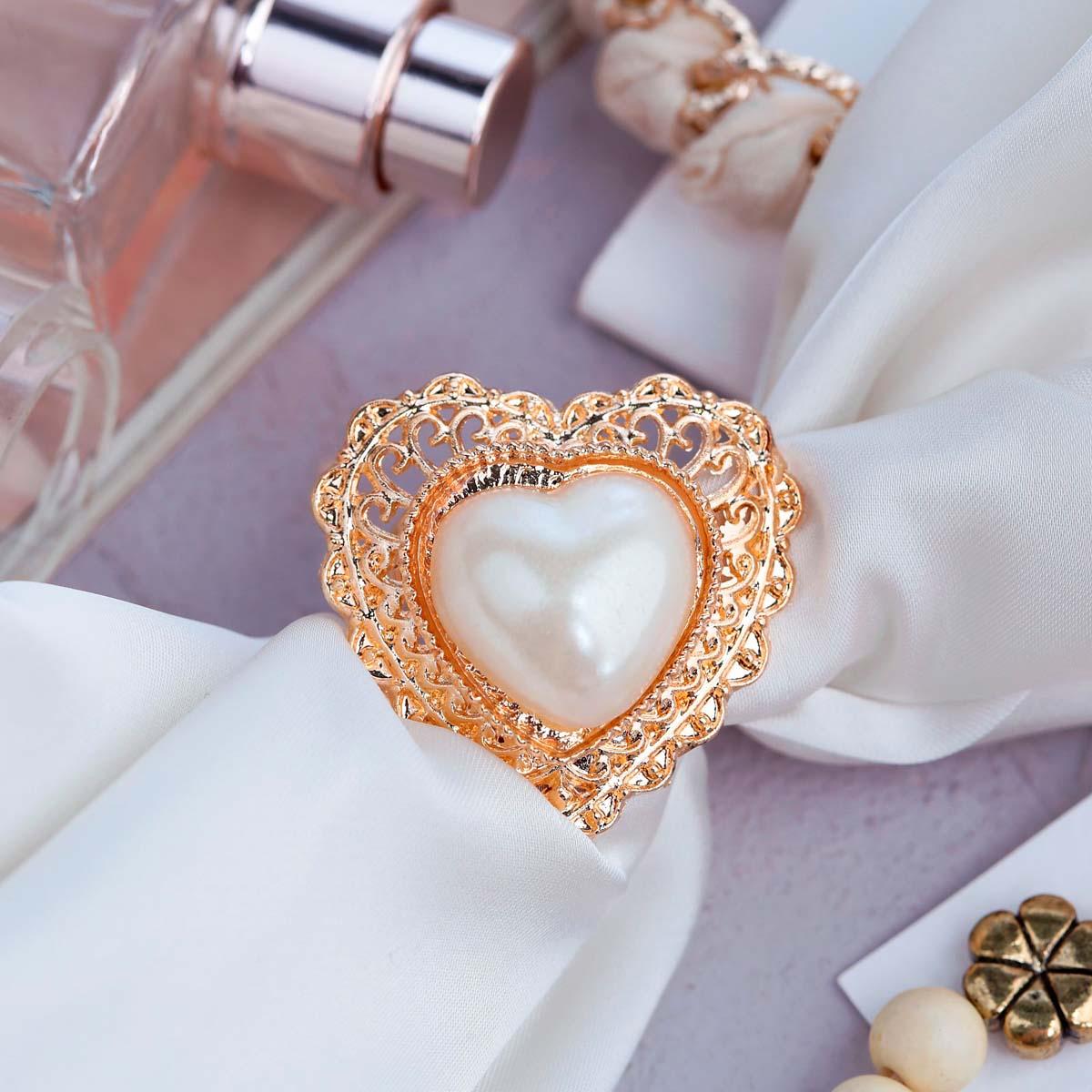 3714472 Кольцо для платка 'Барокко' сердце, цвет белый в золоте
