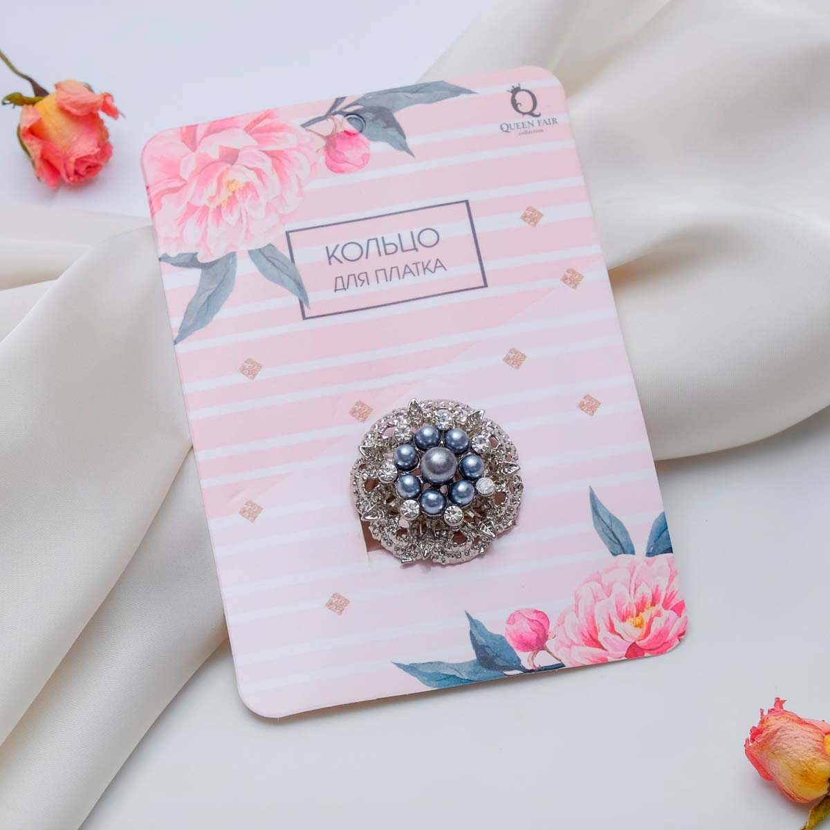 3924740 Кольцо для платка 'Букет жемчужный', цвет бело-серый в серебре