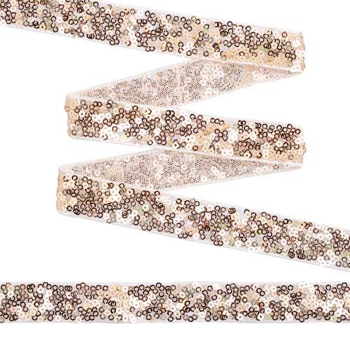 TDF02021 Тесьма с пайетками на сетке 20мм*13,7м, белый+золото