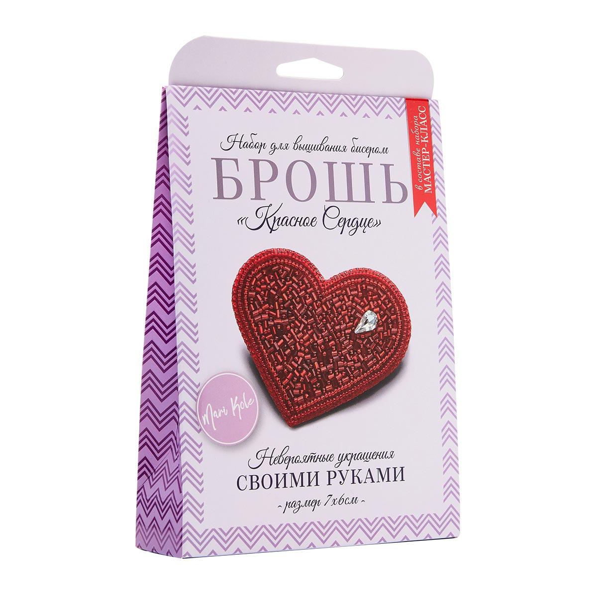 НБР-18001 Набор для вышивания бисером: Брошь «Красное сердце».