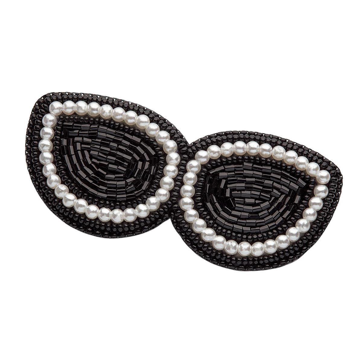 НБР-18011/1 Набор для вышивания бисером: Брошь «Очки чёрные с жемчугом».