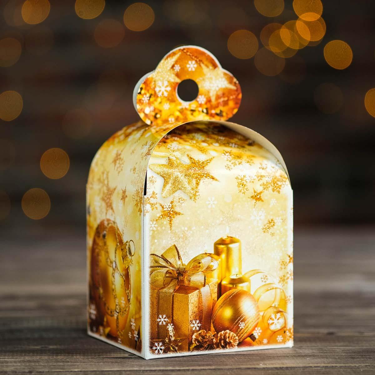 2734036 Подарочная коробка 'Золотой', кубик малый