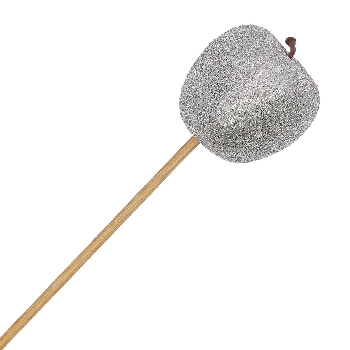 55124 Яблоко на вставке с глиттером 5*50см серебряное