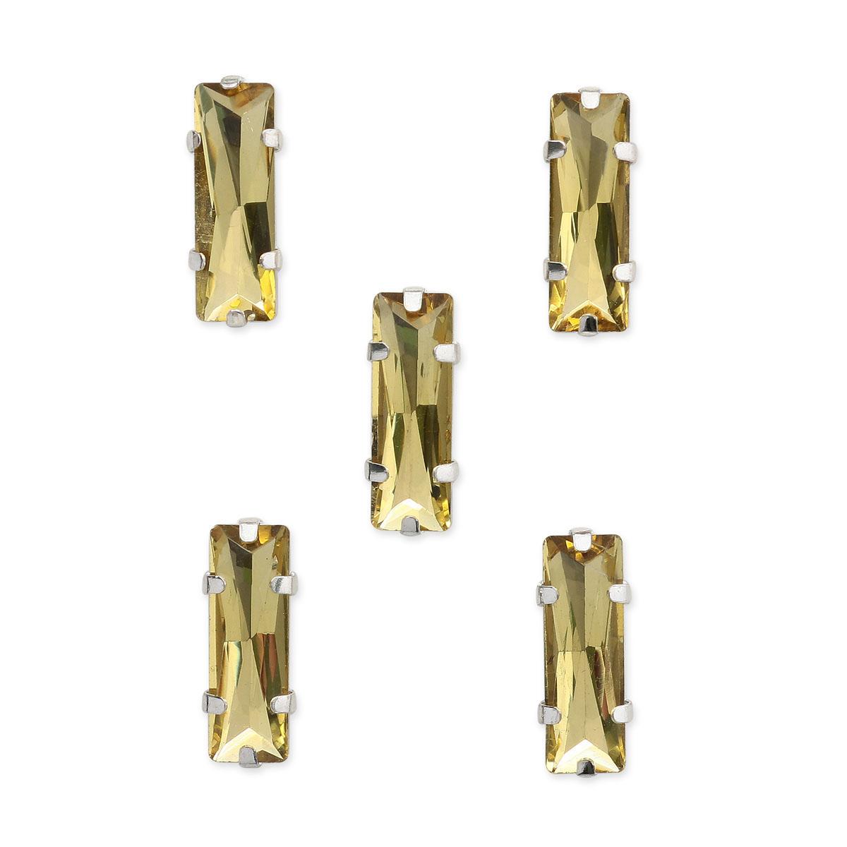 ДЦ002НН515 Хрустальные стразы в металлических цапах (серебро) Желтый 5х15 мм 5 шт/упак