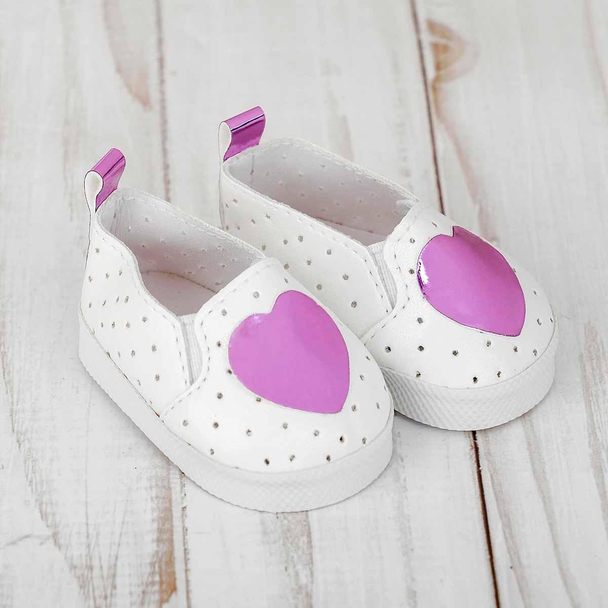 4258960 Мокасины для куклы 'Сердечко', длина стопы 7 см, цвет фиолетовый