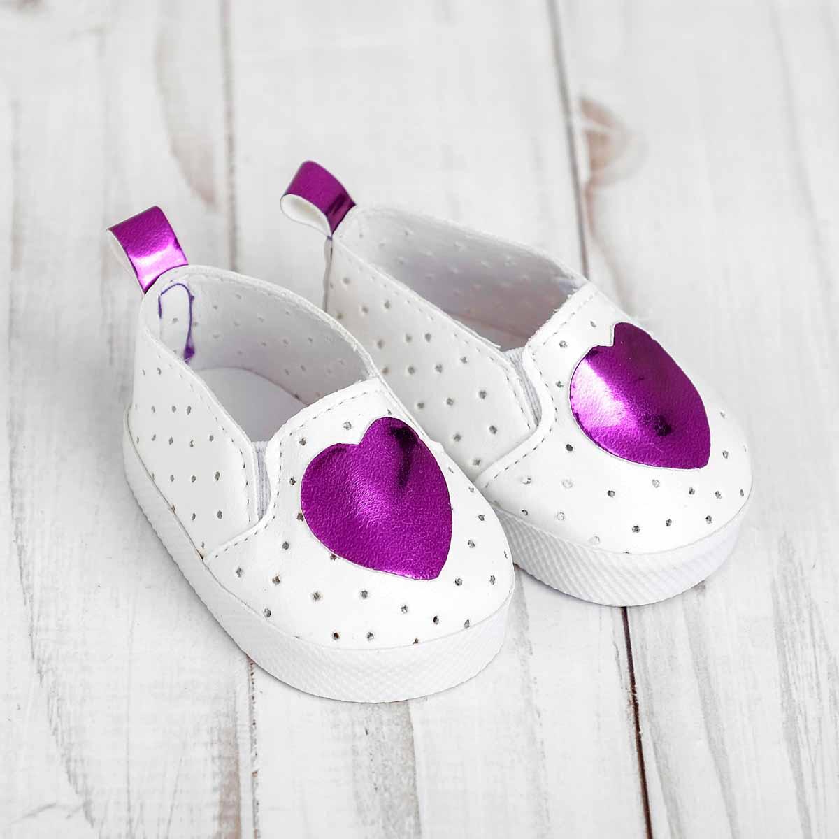 4258963 Мокасины для куклы 'Сердечко', длина стопы 7 см, цвет фиолетовый
