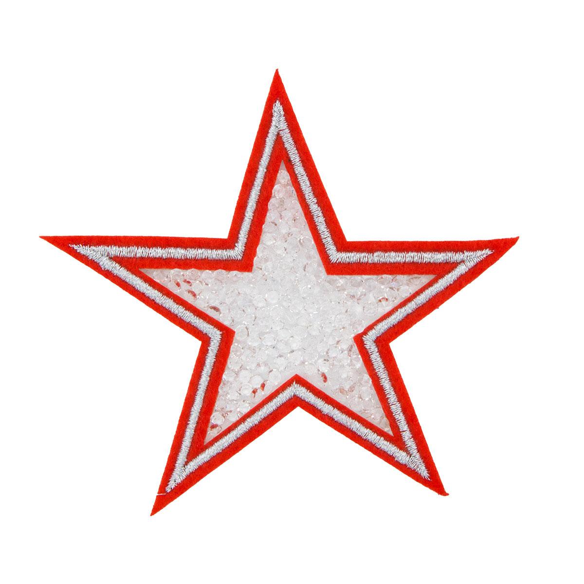 ГСН059 Термоаппликация Звезда 90мм, красный+серебро+прозрачный